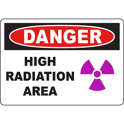DANGER High Radiation Area Sign w/Symbol