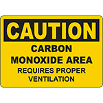 CAUTION Carbon Monoxide Area Requires Venting Sign