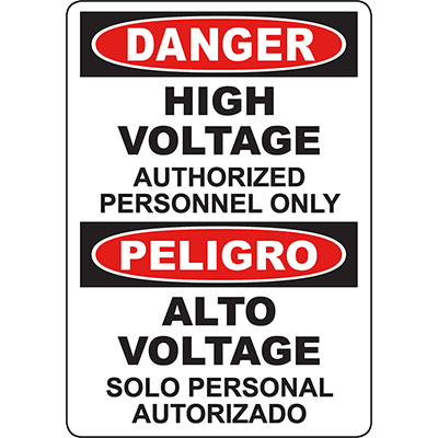 DANGER High Voltage Authorized Personnel Only Bilingual Sign