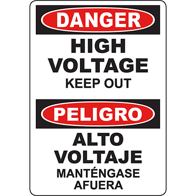 DANGER High Voltage Keep Out Bilingual Sign