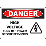 DANGER Turn Off Power Before Servicing Sign w/Symbol