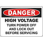 DANGER Turn Power Off And Lock Out Sign