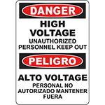 DANGER High Voltage Unauthorized Personnel Keep Out Bilingual Sign