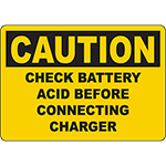 CAUTION Check Battery Acid Before Connecting Charger Sign