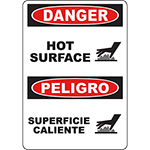 DANGER Hot Surface Bilingual Sign