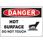 DANGER Hot Surface Do Not Touch Sign w/Symbol