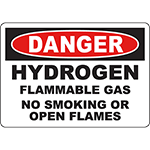 DANGER Hydrogen Flammable Gas No Smoking Or Open Flames Sign