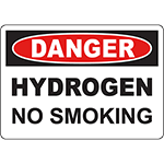 DANGER Hydrogen No Smoking Sign