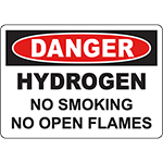DANGER Hydrogen No Smoking No Open Flames Sign