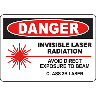 DANGER Invisible Laser Radiation Class 3B Laser Sign