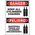 DANGER Keep All Cylinders Chained Bilingual Sign