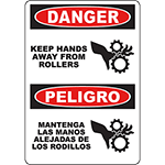 DANGER Keep Hands Away From Rollers Bilingual Sign