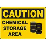 CAUTION Chemical Storage Area Sign w/Symbol