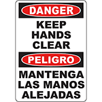 DANGER Keep Hands Clear Bilingual Sign