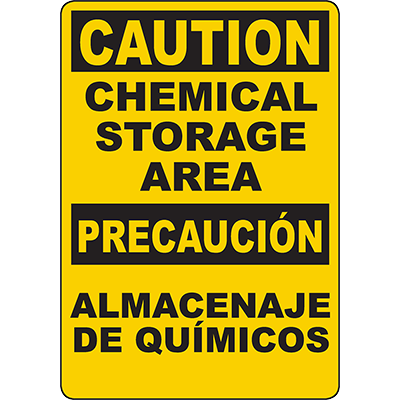 CAUTION Chemical Storage Area Bilingual Sign