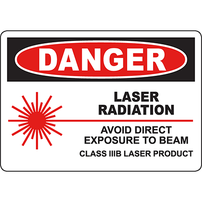 DANGER Laser Radiation Class IIIB Laser Product Sign