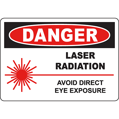 DANGER Laser Radiation Avoid Direct Eye Exposure Sign