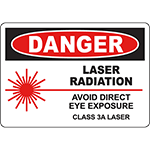 DANGER Laser Radiation Class 3A Laser Sign
