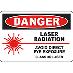 DANGER Laser Radiation Class 3R Laser Sign