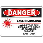 DANGER Laser Avoid Eye Or Skin Exposure Sign