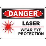 DANGER Laser Wear Eye Protection Sign