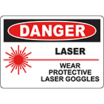 DANGER Laser Wear Protective Laser Goggles Sign