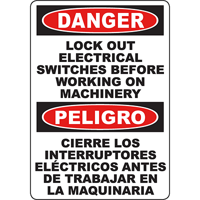 DANGER Lock Out Electrical Switches Bilingual Sign