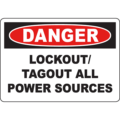 DANGER Lockout/Tagout All Power Sources Sign