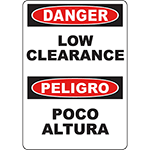 DANGER Low Clearance Bilingual Sign