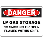 DANGER Lp Gas Storage No Smoking Or Open Flames Within 5 Ft Sign