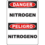 DANGER Nitrogen Bilingual Sign