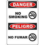 DANGER No Smoking Bilingual Sign