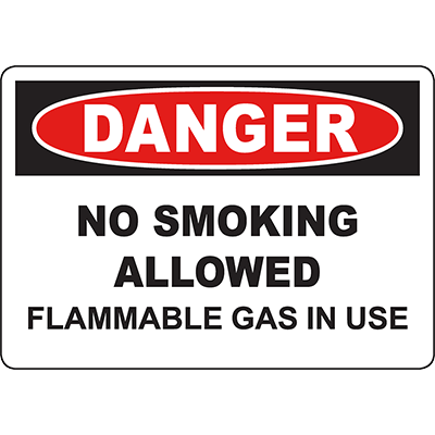 DANGER No Smoking Allowed Flammable Gas In Use Sign