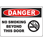 DANGER No Smoking Beyond This Door Sign