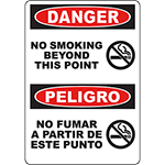 DANGER No Smoking Beyond This Point Bilingual Sign