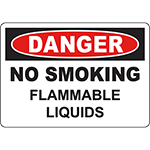 DANGER No Smoking Flammable Liquids Sign