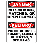 DANGER No Smoking, Matches, Or Open Flames Bilingual Sign