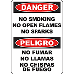 DANGER No Smoking No Open Flames Bilingual Sign