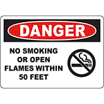 DANGER No Smoking Or Open Flames Within 5 Feet Sign w/Symbol