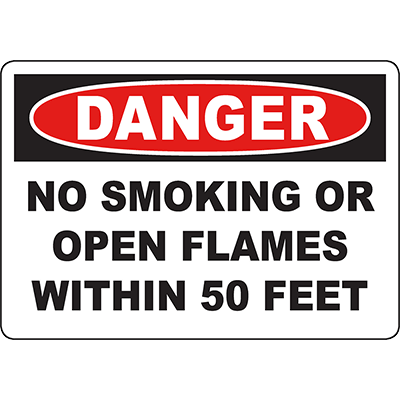 DANGER No Smoking Or Open Flames Within 5 Feet Sign