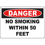 DANGER No Smoking Within 5 Feet Sign