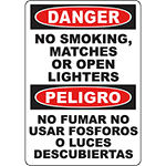 DANGER No Smoking, Matches Or Open Lighters Bilingual Sign