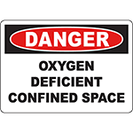 DANGER Oxygen Deficient Confined Space Sign