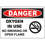 DANGER Oxygen In Use No Smoking Or Open Flame Sign