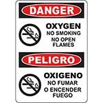 DANGER Oxygen Bilingual Sign