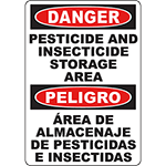DANGER Pesticide And Insecticide Storage Area Bilingual Sign