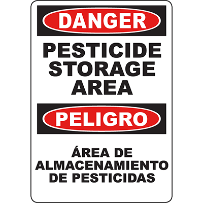 DANGER Pesticide Storage Area Bilingual Sign