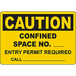 CAUTION Confined Space Entry Permit Required Sign