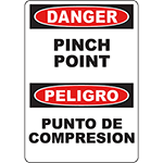 DANGER Pinch Point Bilingual Sign