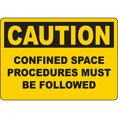 CAUTION Confined Space Procedures Must Be Followed Sign